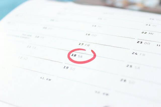 カレンダーに付いたまる