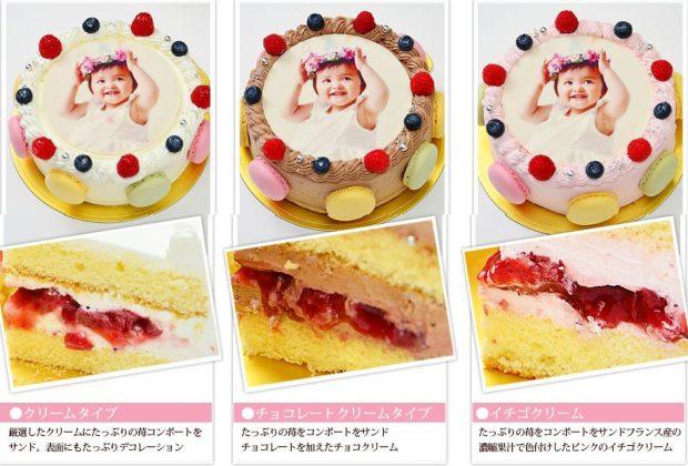 シェリーブランの選べる3種類の写真ケーキ